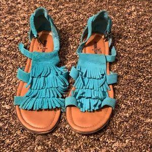 Turquoise Fringe Sandals